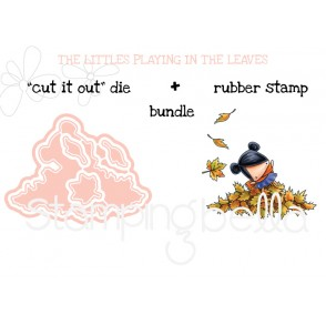 """THE LITTLES PLAYING IN THE LEAVES RUBBER STAMP + """"CUT IT OUT"""" BUNDLE (save 15%)"""