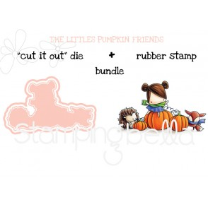 "THE LITTLES PUMPKIN FRIENDS RUBBER STAMP + ""CUT IT OUT"" DIE BUNDLE (save 15%)"