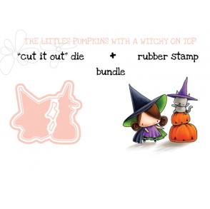 "THE LITTLES PUMPKIN WITH A WITCHY ON TOP RUBBER STAMP + ""CUT IT OUT"" DIE BUNDLE (save 15%)"