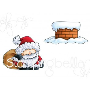 LITTLE BITS SANTA and his CHIMNEY RUBBER STAMPS (set of 2 rubber stamps)