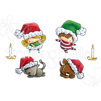 LITTLE BITS SANTA KIDS AND PETS rubber stamps