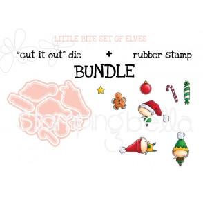"LITTLE BITS SET OF ELVES ""cut it out"" die + rubber stamp BUNDLE (save 15%)"