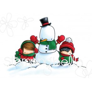 THE LITTLES SNOWMAN LOVE rubber stamp