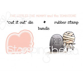 """THE LITTLES MUMMY and the TOMBSTONE RUBBER STAMP + """"CUT IT OUT"""" DIE BUNDLE (save 15%)"""