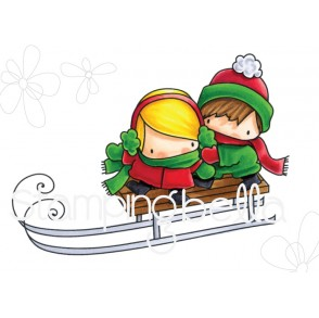 THE LITTLES TOBOGGANING rubber stamp
