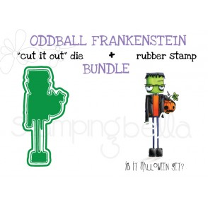 "ODDBALL FRANKENSTEIN RUBBER STAMP + ""CUT IT OUT"" DIE BUNDLE (SAVE 15%)"