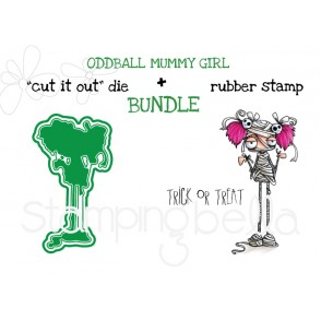 "ODDBALL GIRL MUMMY RUBBER STAMP +""CUT IT OUT"" DIE BUNDLE (SAVE 15%)"