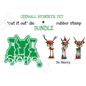 "ODDBALL REINDEER RUBBER STAMP + ""CUT IT OUT"" DIE BUNDLE (SAVE 15%)"