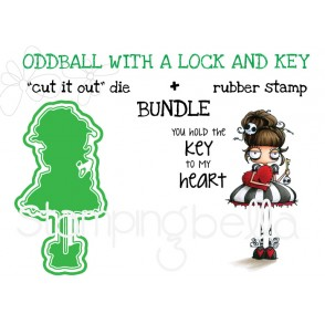"oddball with a LOCK AND KEY rubber stamp + ""CUT IT OUT"" die BUNDLE (save 15%)"