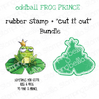 """ODDBALL FROG PRINCE RUBBER STAMP + """"CUT IT OUT"""" DIE BUNDLE (SAVE 15%)"""