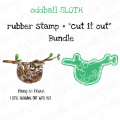 "ODDBALL SLOTH RUBBER STAMP + ""CUT IT OUT"" DIE BUNDLE (SAVE 15%)"