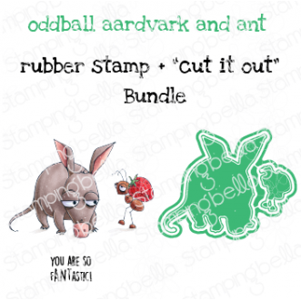"""ODDBALL AARDVARK AND ANT RUBBER STAMP + """"CUT IT OUT"""" DIE BUNDLE (SAVE 15%)"""