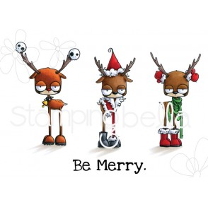 ODDBALL REINDEER SET RUBBER STAMPS