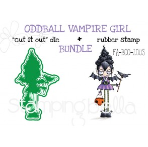 "ODDBALL VAMPIRE GIRL RUBBER STAMP + ""CUT IT OUT"" DIE BUNDLE (save 15%)"