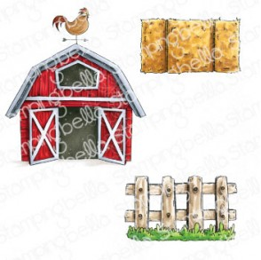 ODDBALL BARN, HAY AND FENCE RUBBER STAMPS (3 STAMPS)