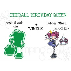 """ODDBALL BIRTHDAY QUEEN RUBBER STAMP + """"CUT IT OUT"""" DIE BUNDLE"""