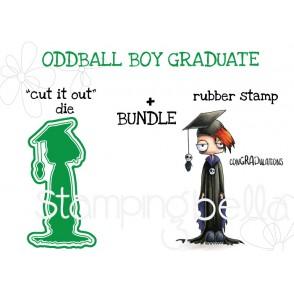 "ODDBALL BOY GRADUATE RUBBER STAMP + ""CUT IT OUT"" DIE BUNDLE"