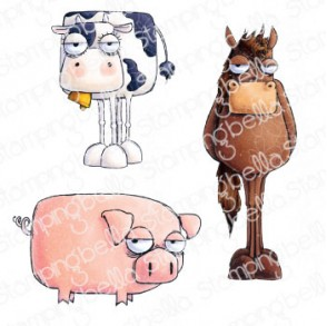 ODDBALL FARM ANIMALS (SET OF 3 RUBBER STAMPS)