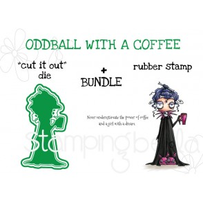 """ODDBALL with a COFFEE RUBBER STAMP + """"CUT IT OUT"""" DIE BUNDLE"""