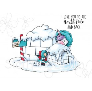 ROSIE AND BERNIE IN THE NORTH POLE RUBBER STAMP