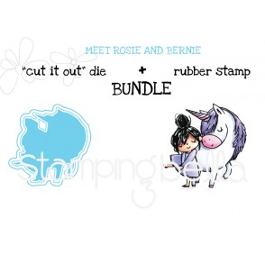 "Meet ROSIE and BERNIE RUBBER STAMP + ""CUT IT OUT"" die BUNDLE (save 15%)"