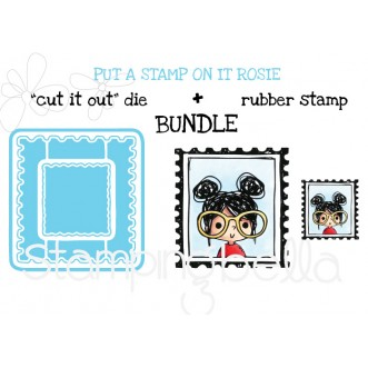 "PUT A STAMP ON IT ROSIE RUBBER STAMP + ""CUT IT OUT"" DIE BUNDLE"