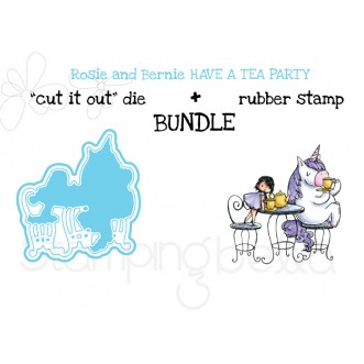 "Rosie and Bernie have a TEA PARTY RUBBER STAMP + ""CUT IT OUT"" DIE BUNDLE (save 15%)"