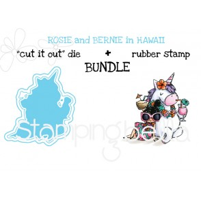 "Rosie and Bernie in HAWAII RUBBER STAMP + ""CUT IT OUT"" BUNDLE (save 15%)"