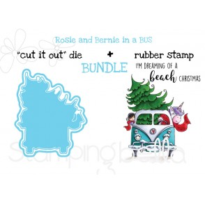 "ROSIE AND BERNIE IN A BUS RUBBER STAMP + ""CUT IT OUT"" DIE BUNDLE (SAVE 15%)"
