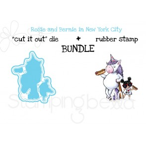 "Rosie and Bernie in NEW YORK CITY RUBBER STAMP + ""CUT IT OUT"" DIE BUNDLE (save 15%)"