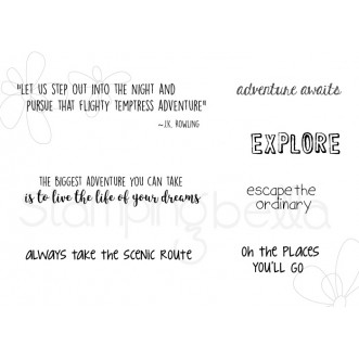 ADVENTURE SENTIMENT SET rubber stamps