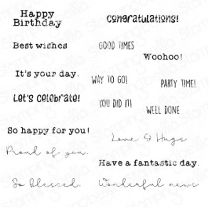 CELEBRATE AND CONGRATULATE RUBBER STAMP SET (17 RUBBER STAMPS)