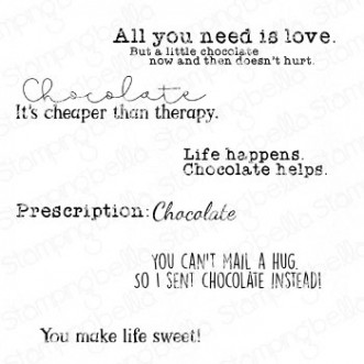 CHOCOLATE SENTIMENT SET RUBBER STAMPS