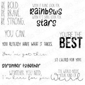 ENCOURAGEMENT SENTIMENT SET (10 RUBBER STAMPS)