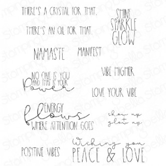 GOOD VIBES SENTIMENT SET (12 RUBBER STAMPS)