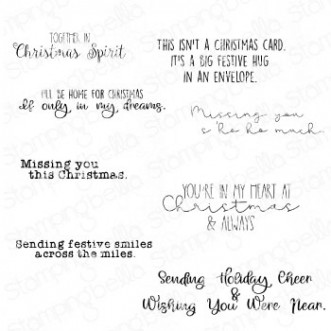 LONG DISTANCE CHRISTMAS SENTIMENT SET (SET OF 8 RUBBER STAMPS)