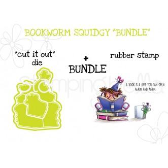 "BOOKWORM SQUIDGY RUBBER STAMP + ""CUT IT OUT"" DIE BUNDLE"