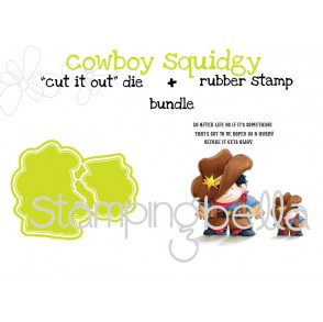 "Cowboy SQUIDGY RUBBER STAMP + ""CUT IT OUT"" DIE  bundle (save 15%)"