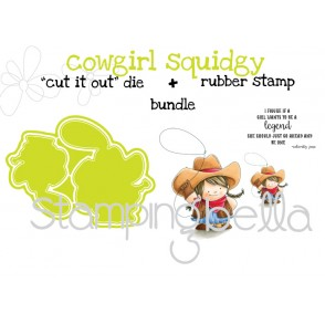 """COWGIRL Squidgy RUBBER STAMP + """"CUT IT OUT"""" DIE BUNDLE (save 15%)"""