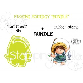 "FISHING SQUIDGY RUBBER STAMP + ""CUT IT OUT"" DIE BUNDLE"