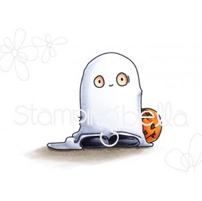 squidgy GHOST TRICK OR TREATER rubber stamp