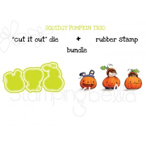 "squidgy PUMPKIN TRIO RUBBER STAMP + ""CUT IT OUT"" DIE BUNDLE (save 15%)"