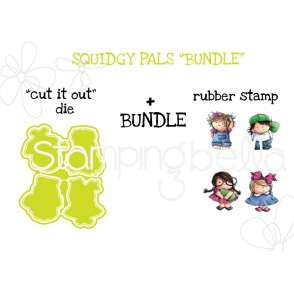 "SQUIDGY PALS RUBBER STAMPS + ""CUT IT OUT"" DIE BUNDLE"