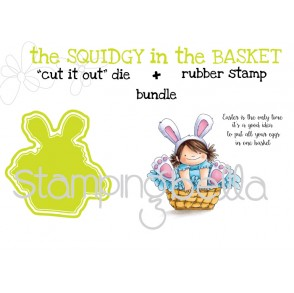 """the SQUIDGY in a basket RUBBER STAMP + """"CUT IT OUT"""" DIE BUNDLE (save 15%)"""