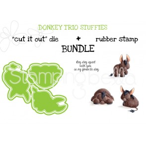 """DONKEY TRIO STUFFIES RUBBER STAMPS + """"CUT IT OUT"""" DIE BUNDLE (SAVE 15%)"""