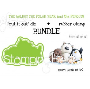 """THE WALRUS, THE POLAR BEAR, and the PENGUIN """"cut it out"""" + rubber stamp BUNDLE (save 15%)"""