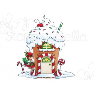 TEENY TINY TOWNIE GINGERBREAD HOUSE RUBBER STAMP