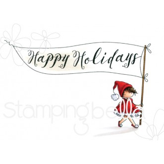 HAPPY HOLIDAYS TEENY TINY TOWNIE RUBBER STAMP