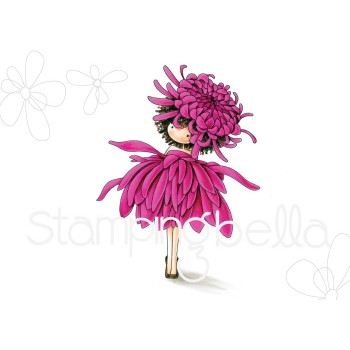 tiny townie GARDEN GIRL CHRYSANTHEMUM (November birth flower) RUBBER STAMP