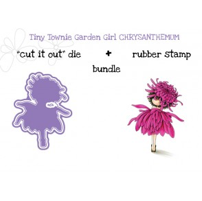 "tiny townie GARDEN GIRL CHRYSANTHEMUM RUBBER STAMP + ""CUT IT OUT"" DIE BUNDLE (save 15%)"